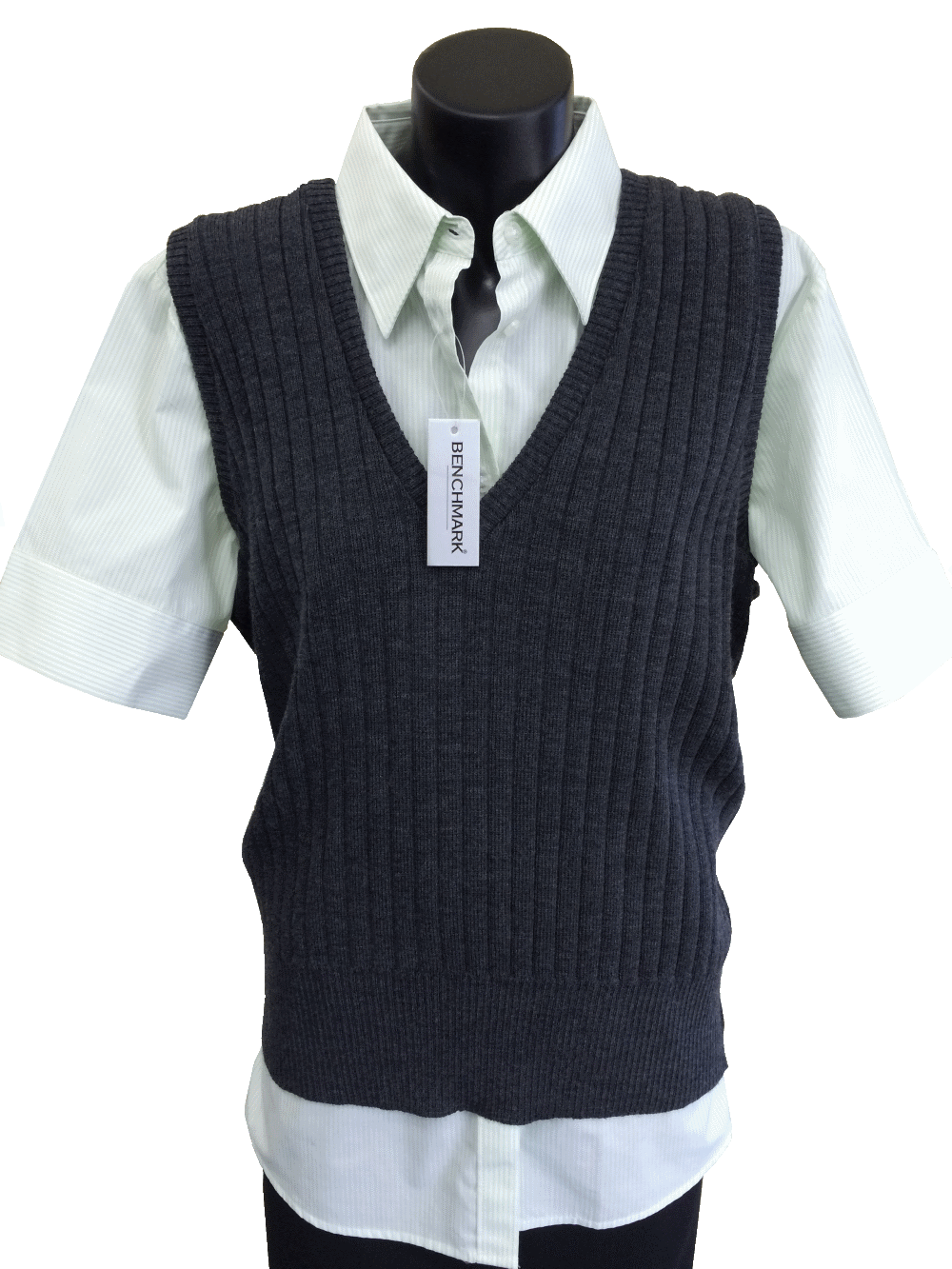 Ladies extra-lightweight ribbed vest.