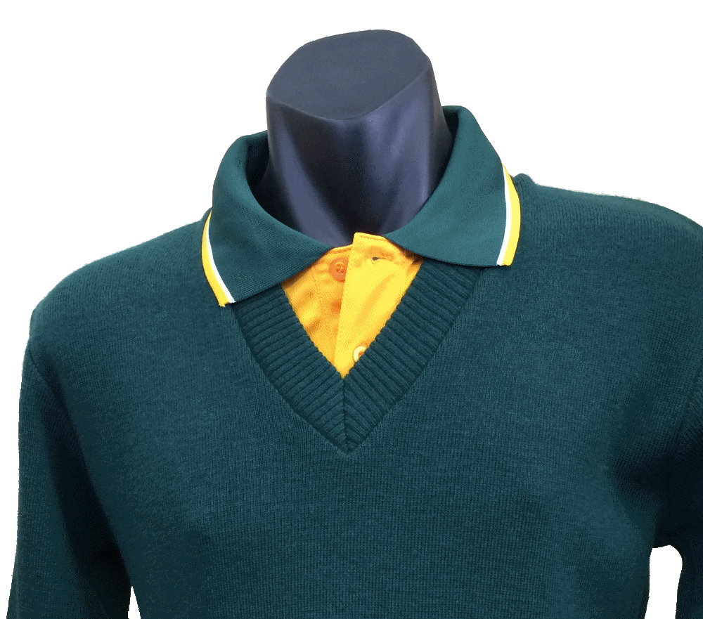 Veteran Golfers Tastex embroidered Polo teamed with Tastex V-necked knitted jumper