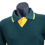 Veteran Golfers Polo teamed with Tastex V-necked knitted jumper
