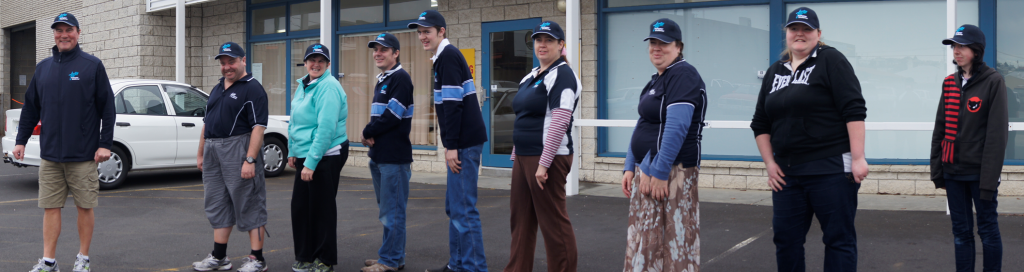 Members of the Tastex Walking Club set out for their weekly walk.