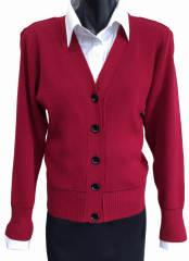 Ladies lightweight cardigan with contrast trim.